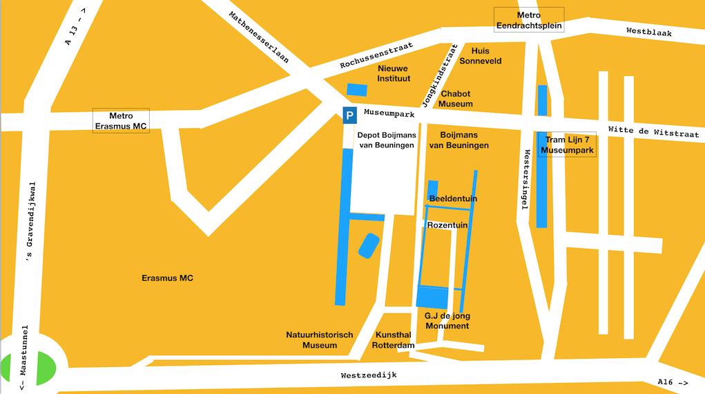 Plattegrond Museumpark Rotterdam met musea